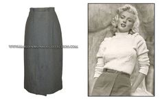 """A gray wool skirt from the personal wardrobe of Marilyn Monroe. A-line in cut with a matching belt, the interior label reads: """"Matthews / Beverly Hills."""" A signature wardrobe item from the 1950s, Marilyn often wore skirts in private and public settings, and even in her films."""
