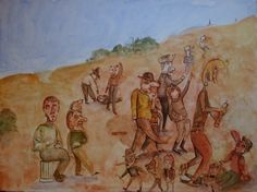 """Bart Johnson, Desert Life, watercolor and ink on paper, 22"""" ; x 30"""", 2013"""
