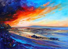 Red Sunset Beach - Helen Blair  $550 Red Sunset, Sunset Beach, Waves, Fine Art, Artwork, Painting, Outdoor, Shop, Outdoors