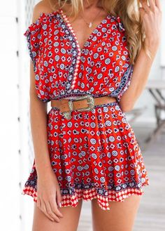 Tribal Print Off The Shoulder Red Strappy Romper