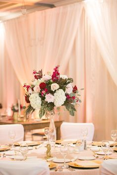 Tall Red Rose and White Hydrangea Reception Centerpiece