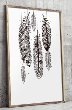 Bohemian Wall Art instant download: watercolor feathers for bohemian wall decor