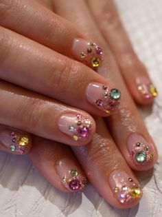 Bijoux nails Paris in 2020 Diva Nails, Gem Nails, Nail Manicure, Hair And Nails, Fancy Nails, Cute Nails, Pretty Nails, Japanese Nail Design, Diamond Nail Art
