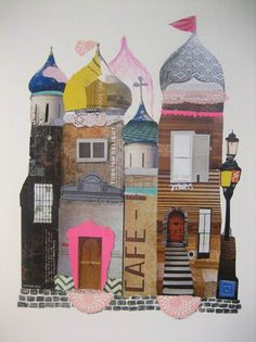 Use magazine cutouts to construct a paper castle. collages c Mixed Media Collage, Collage Art, Creation Album Photo, Collages, Illustrations, Illustration Art, Magazine Collage, Arts Ed, Art Graphique