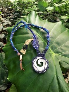 Indigo Vibration bone necklace by ivisouQ on Etsy