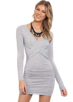 Vestido Bodycon manga larga-gris 13.25