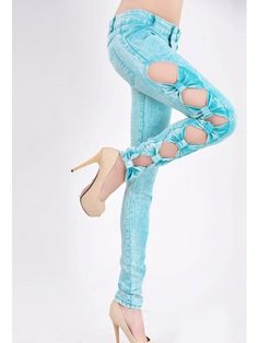 8686fb4d87 Attractive Side Hollow Bow-knot Skinny Jean Jeans from stylishplus.com Bow  Jeans,