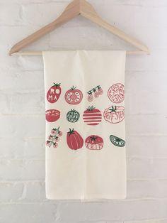 Tomato Varieties Tea Towel, Screen Printed Flour Sack Towel by andMorgan on Etsy https://www.etsy.com/listing/470555909/tomato-varieties-tea-towel-screen