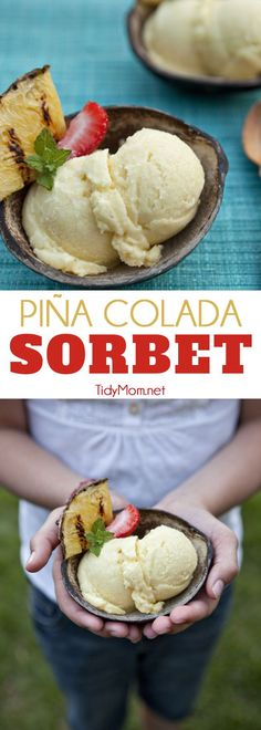 Homemade Pina Colada Sorbet is a perfect summer treat for those yearning for a tropical beach. It's a pineapple island sorbet spiked with a bit of coconut milk and rum for the big kids. Print the recipe at TidyMom.net