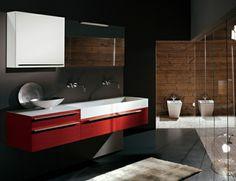 Badezimmer Fliesen Graunuancen Weiße Sanitärobjekte | Badezimmer ... Badezimmer Grau Rot