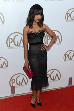 """French Lace Strapless Corset Dress With A Frill Hem By Marchesa & Pink Ostrich """"Simonetta"""" Bag"""