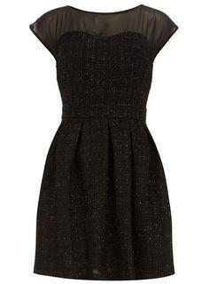 Black lurex textured dress