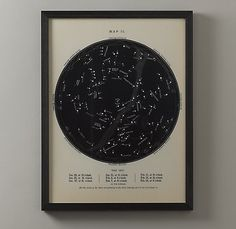 night sky map - dear restoration hardware, why are you so expensive? i'll find a cheaper version on etsy $219