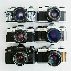 Yashica FX-D Quartz, Olympus OM20, OM-G, Olympus OM10, Canon AE 1 Program, Canon A1, Minolta XG2 - Functional Vintage Cameras with Folk Patterned by FolkCamera