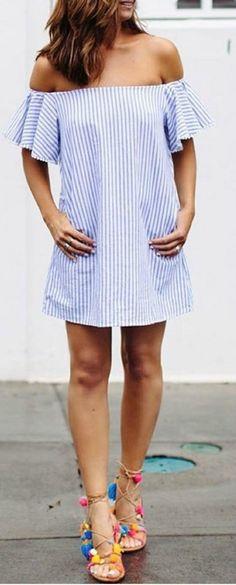 Pom pom sandals + striped off the shoulder dress.
