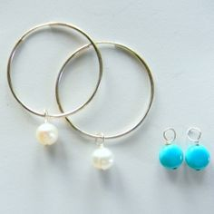 Free Turquoise Coin drops w/ purchase of Sterling Silver Hoops with Natural Freshwater Pearl Rounds. No code needed. Offer good through Thursday 10/18.