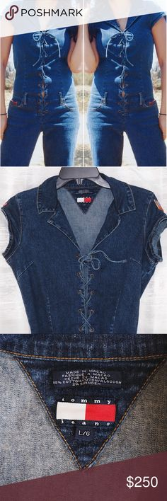 Vintage Tommy Hiliger Denim Jumpsuit Designer Tommy Hilfiger  Size Large This item is a rare VINTAGE designer item, and is very trendy.  Can fit size Medium and Large ❤️ brand is Tommy Jeans by Tommy Hilfiger. Accepting offers Tommy Hilfiger Pants Jumpsuits & Rompers