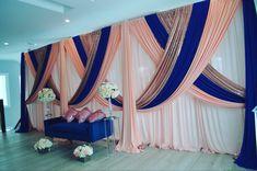 Rose Gold Curtains, Peach Curtains, Diy Wedding Drapery, Wedding Ceremony Backdrop, Blush Wedding Theme, Desi Wedding Decor, Reception Stage Decor, Wedding Stage Decorations, Backdrop Decor