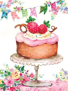 Best Birthday Quotes : Liz Yee cake with flags - Pastel - Birthday Happy Birthday Wishes Cards, Happy Birthday Images, Birthday Messages, Birthday Fun, Birthday Cupcakes, Cupcake Illustration, Decoupage, Best Birthday Quotes, Cupcake Art