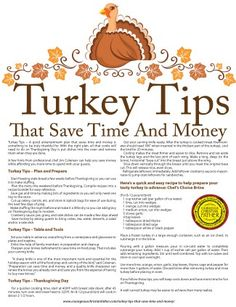 Turkey Tips that save time and money.  Turkey Tips, Recipe Tips, Cooking Tips, Printable (Thanksgiving, Christmas and Holiday)