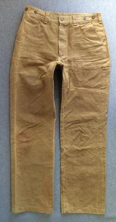 FILSON Pants Tin Oil Cloth 70's Vintage Style #69 USA Made Distressed 33x33 #Filson #Work
