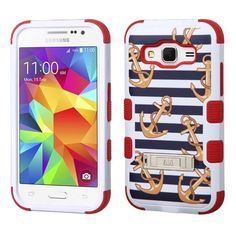 Insten White/ Nautical Stripes Tuff Hard PC/ Silicone Dual Layer Hybrid Case Cover with Stand For Samsung Galaxy Core Prime