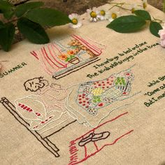 very sweet, embroidered page from a children's book.