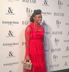 Writer Chimamanda Adichie steps out in style at the Harper's Bazaar Women of the Year Awards in London  Famous Nigerian writer Chimamanda Adichie was stylish in redas she walked the red carpet at the Harper's Bazaar Women of the Year Awards in London. See another photo below.