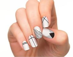 Line Nail Art Designs Awesome Most Elegant Black and White Nail Designs for Shor. - Line Nail Art Designs Awesome Most Elegant Black and White Nail Designs for Short Nails - Acrylic Nail Designs, Nail Art Designs, Acrylic Nails, Nails Design, Black And White Nail Designs, Black White, Line Nail Art, Lines On Nails, Short Nail Designs
