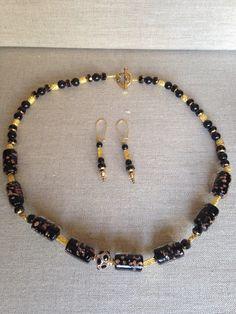 Dangle Earrings, Beaded Necklace, Beaded Bracelets, Black Rhinestone, Gold Beads, Statement Jewelry, Earring Set, Black Gold, Glass Beads