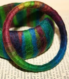 Wrapped and felted bracelet