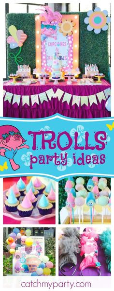 Don't miss this fantastic Trolls 1st birthday party. The Trolls hair cake pops are awesome!! See more party ideas and share yours at CatchMyParty.com