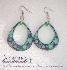 Quilled Earrings - Green and Purple Teardrops by norano-handmade Paper Jewelry, Paper Beads, Jewelry Crafts, Quilling Patterns, Quilling Designs, Bead Earrings, Crochet Earrings, Earrings Handmade, Handmade Jewelry