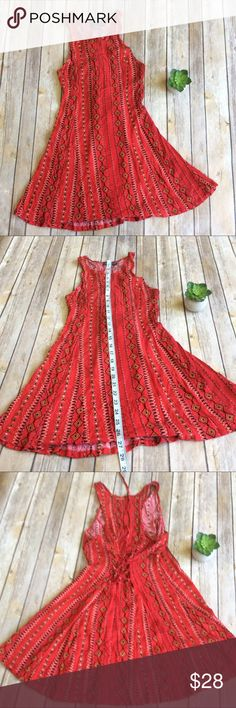 Kendall & Kylie Red Dress size Small Like new red lace up back dress with high neck. So cute and casual! Perfect for summer  ❌no trades, holds, or lowball offers. ✅Clean and smoke free home, quick shipping, bundle discount, always! 🎁Free gift with $15+ bundle. Kendall & Kylie Dresses