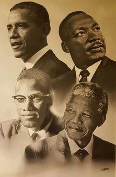 portraits d'hommes politiques noirs US et sud-africain : Barak Obama Martin Luther King Malcolm X Nelson Mandela Black Love Art, My Black Is Beautiful, Black Leaders, Black Art Pictures, Black History Facts, Black History Month People, Black Artwork, Black African American, Native American