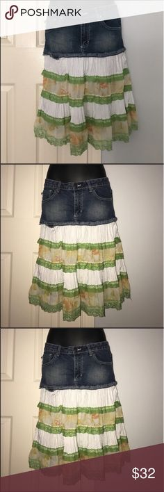 """Boho Jean flowy skirt sz 9/10 juniors Crest Super cute boho style jean cut off ruffle layer skirt. Brand is Crest. Beautiful flowy skirt. Size 9/10. Measures approximately 30"""" waist and approximately 23.5"""" length. Bundle with other items in my closet to save even more. Skirts"""