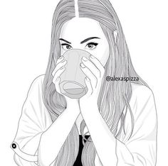 Parece a Marzia do pewds Tumblr Girl Drawing, Tumblr Sketches, Art Tumblr, Tumblr Drawings, Girly Drawings, Pencil Art Drawings, Art Drawings Sketches, Girl Outlines, Outline Art