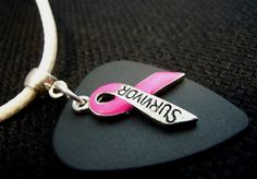 Pink Ribbon Survivor Guitar Pick and White Rolled Leather Cord Necklace by ItsYourPick on Etsy