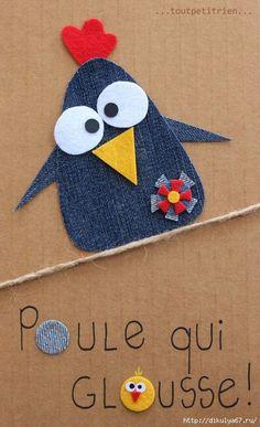 The collec '- toutpetitrien site! Crafts To Do, Crafts For Kids, Arts And Crafts, Paper Crafts, Artisanats Denim, Denim Art, Denim Crafts, Applique Templates, Wool Applique