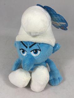"***SOLD***The Smurfs Grouchy Plush Toy 7"" NWT #JAKKSPacific"