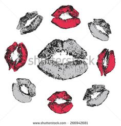 Vector Grey, Red and Black Lipstick Kisses Set. Grunge lips imprint. Modern art, natural trace, isolated on white background. For Valentine card or greeting. #twitart #artwit #art #artwork #kiss #grunge #lips #lipstic #vector #shutterstock #sex #love