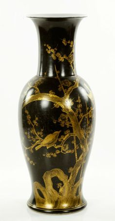 """Gilt black vase, China, 19th century, decorated with birds on blossoming branches, 16 1/2""""h x 6 1/2""""w."""