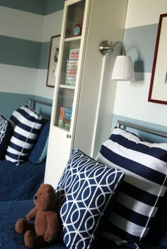 a boys bedroom built for two - so many fun organizing ideas.  see the full post for more pics!