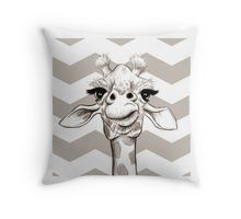 Sketch Giraffe Throw Pillow