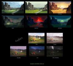 Mood sketches Environment Concept Art, Environment Design, Landscape Concept, Landscape Art, Color Studies, Art Studies, Digital Painting Tutorials, Art Tutorials, Game Font