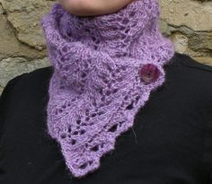 Lilac knit alpaca-mohair scarf. Buttoned scarflette. Lace neck wrap - pinned by pin4etsy.com