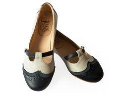 zapato mujer chatita ballerina cuero gris y negro