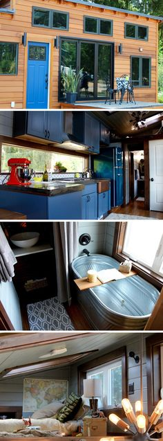 tiny house built for a family of five. A custom moving wall system creates a bedroom with two bunk beds and a secondary loft accommodates a third kid. home decor home decorations home home home design home diy home furniture house diy homes Tyni House, Tiny House Living, Small Living, Bus Living, Kids House, Tiny House 3 Bedroom, Tiny House Bathtub, Tiny House Family, Tiny House Nation