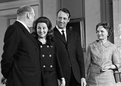 Engagement of Crown Prince Harald of Norway and ms Sonja Haraldsen, here with King Olav of Norway and her mother, Dagny F. Haraldsen