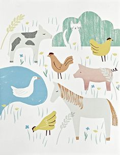 Farmyard animals illustration - Amy Van Luijk for Land of Nod | via Print and Pattern